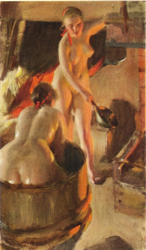 Badande kullor i bastun, Anders Zorn, 1906