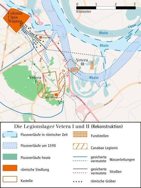 Die Römer in Xanten, Karte von Ziegelbrenner, Wikipedia. Lizenz: cc-by-sa 3.0