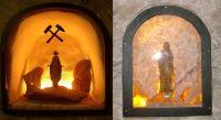 Heilige Barbara im Eisenerzbergwerk Schacht Konrad (links) und im Salzbergwerk Asse (rechts). Bild von Wusel007, Wikipedia, Lizenz: cc-by-sa 3.0