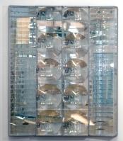 Adolf Luther: Sphärisches Hohlspiegelobjekt, 1979, Hohlspiegel, streifenförmig und rund, Plexiglas, Holz, (4 teilig), © Archiv der Adolf-Luther-Stiftung Krefeld
