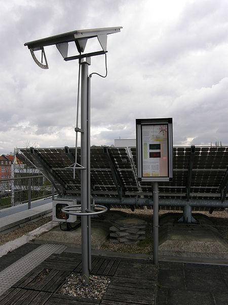 Dreh-/kippbares Solarmodul zur Veranschaulichung der Energieausbeute, eigenes Bild