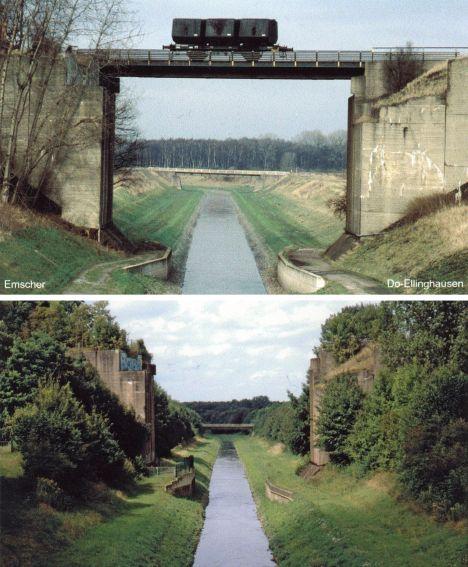 Die Emscher in Dortmund-Ellinghausen mit und ohne Eisenbahnbrücke. Repro: LWL